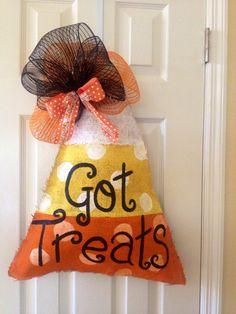 Got treats? Candy corn burlap Halloween door hanger by shutthefrontdoors on Etsy
