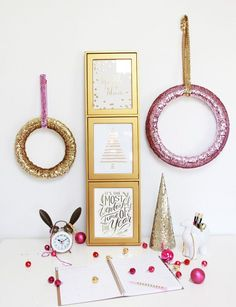 Pretty shimmery wreaths are wall art, Christmas decor and great for a New Year's party! #DIY #Crafts