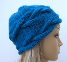 Two Patterns, Headband and Hat, French Braid Hat, Knitting Pattern, PDF, Winter Hat, Slouch Hat