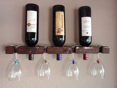 Wood Wall Wine Rack Holds 3 Bottle 4 Glasses