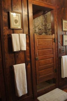 reclaimed school bath door for shower door, rock shower, hemlock paneling bathroom in place of swinging door in master bath Rustic Shower Doors, Rustic Bathroom Shower, Bathroom Doors, Bathroom Ideas, Bathroom Vanities, Bathroom Stall, Baby Bathroom, School Bathroom, Master Bathroom