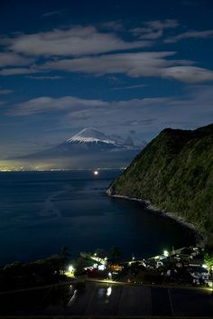 Mt Fuji at night, Japan. Never was able to see it while there.