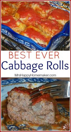 Cabbage Rolls - tried this recipe and liked it. I fried the onion and garlic in butter first before adding to rice and meat. My new favorite recipe for cabbage rolls! Vegetable Recipes, Meat Recipes, Cooking Recipes, Pastry Recipes, Polish Recipes, Recipies, Healthy Recipes, Cooking Ham, Cooking Fish