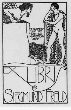 """Ex Libis of Sigmund Freud (1856-1939) ~ Of course Freud's bookplate would be filled with symbolism. It depicts the riddle of the Sphinx along with a quote in Greek from Oedipus the King that says, """"He who understood that famous enigma and was a strong man."""" Sigmund Freud was an Austrian neurologist and the father of psychoanalysis, a clinical method for treating psychopathology through dialogue between a patient and a psychoanalyst."""