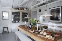 Love this rustic farm table and gray hutch!  -  English Home Tour
