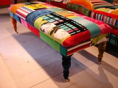Hippy-Chic Furniture - What could be funkier than a patchwork pillow? Patchwork sofas, chaise, chairs and ottomans!Furniture designer Lisa Whatmough, from L. Bohemian Furniture, Funky Furniture, Painted Furniture, Furniture Design, Coaster Furniture, Classic Furniture, Upholstered Furniture, Patchwork Sofa, Poltrona Bergere