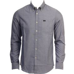 RVCA Mens Woven That'll Do Oxford Distant Blue