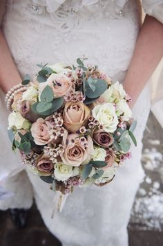 Winter wedding bouquet - Sian and Dean's incredibly beautiful snowy wedding in Surrey Pastel Bouquet, Bridal Bouquet Pink, Bridal Flowers, Flower Bouquet Wedding, Rose Bouquet, Flower Bouquets, Silk Flowers, Winter Bridal Bouquets, Winter Bouquet