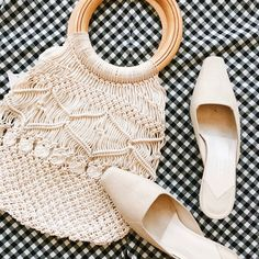 Found at Common Sort - macrame bag and Talbolts mules