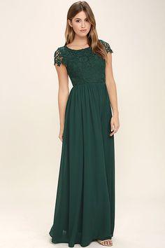 Lovely Forest Green Dress - Lace Dress - Maxi Dress - $86.00