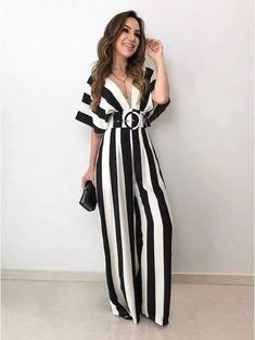 Black and White jumpsuit with belt for teens Cute Summer Outfits, Classy Outfits, Chic Outfits, Hijab Fashion, Girl Fashion, Fashion Dresses, Casual Wear, Casual Dresses, Hijab Stile