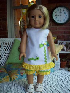Short set and hair clip fits 18 inch doll or by ASewSewShop, $15.99
