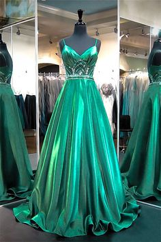 A Line Sweetheart Cut Out Back Emerald Green Satin Beaded Prom Dress With Straps