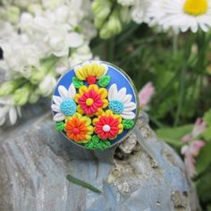 colorful ring floral ring cameo ring ready to ship fashion style boho hippie gift for her summer by FloralFantasyDreams
