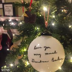 LOVE my new Christmas ornament from A sweet message from my Grandma, in her handwriting so she can always be with us at Christmas 💗 What memory would you love to hang on your tree each year? Custom Christmas Ornaments, Christmas Bulbs, Christmas Gifts, Sweet Messages, Handwriting, Create, Holiday Decor, Handmade, Personalised Christmas Baubles