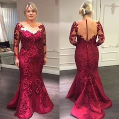 red prom dresses plus v neck lace appliques beading long seeve mermaid dark red evening dresses lace evening gowns party dresses vestidos de fiesta Lace Evening Gowns, Long Sleeve Evening Dresses, Prom Dresses Long With Sleeves, Mermaid Evening Dresses, Mom Dress, Lace Dress, Event Dresses, Party Dresses, Quinceanera Dresses