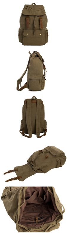 Waxed Canvas Backpack, School Backpack, Travel Backpack