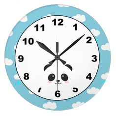 #Panda in the Clouds Wall #Clock is like having Mr. Panda here watching over you and your #family as you sleep throughout your #bed time. You can put this on your #kids room, too! It fits, doesn't? This design was created for all panda lovers out there or if you think panda's are just the cutest thing and most adorable animal in the world! Well, I personally believe they are, lol. I know a lot of panda lovers out there would want to have this clock too! #cute #animals #wallclock #home #art