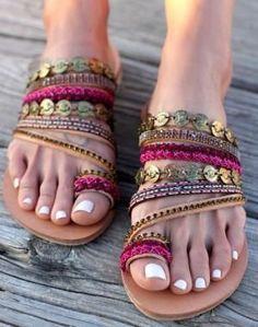 "Leather Sandals ""Aysel"", Handmade Greek Sandals, Swarovski crystals, Boho… by christa"