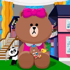 Big doll of Choco Cony Brown, Brown Bear, Cute Couple Cartoon, Little Sis, Friends Wallpaper, Event Page, Line Friends, Rilakkuma, Cellphone Wallpaper