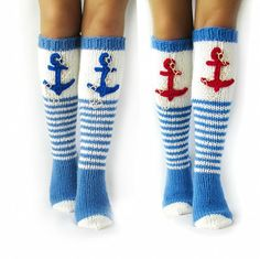 Fun nautical socks with sea anchor for an ocean trip. High socks for … Fun nautical socks with sea anchor for an ocean trip. High socks for yachts. Nautical Socks, Nautical Outfits, Womens Wool Socks, Blue Socks, Warm Socks, Knitting Socks, High Socks, Trending Outfits, Yachts