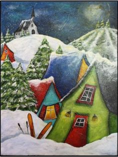Hobbies For 7 Year Olds Storybook Cottage, Cottage Art, Christmas Paintings, Christmas Art, Hobby Bird, Art Fantaisiste, Painting Snow, Acrylic Painting For Beginners, Art For Art Sake