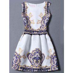 SheIn(sheinside) Multicolor Sleeveless Vintage Print Jacquard Dress