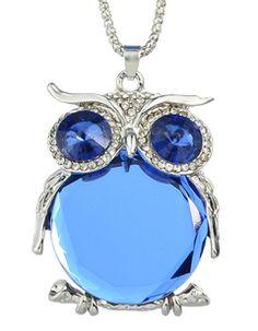 Blue Cute Rhinestone Owl Necklace