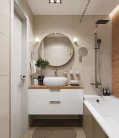 How to plan the design of a small bathroom floating vanity cabinet mirror bathtub Contemporary Bathroom Designs, Bathroom Design Small, Bathroom Interior Design, Interior Decorating, Decorating Ideas, Small Bathtub, Floating Vanity, Minimalist Bathroom, Vanity Cabinet