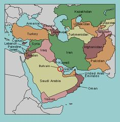 map of middle east with countries labeled
