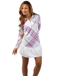 San Soleil Long Sleeved Collared UPF 50 Tech Shirt with Mesh- Prestwick Orchid Print