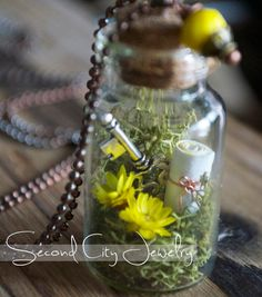 FREE SHIPPING! Mini glass terrarium necklace terrarium by SecondCityJewelry