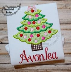 Christmas Tree Applique - 4 Sizes! | What's New | Machine Embroidery Designs | SWAKembroidery.com Beau Mitchell Boutique
