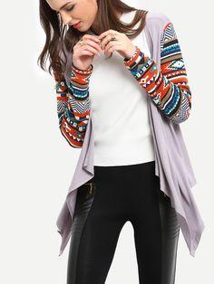 Shop Grey Geometric Print Drape Front Knit Coat online. SheIn offers Grey…