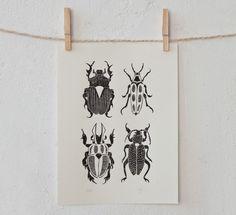 Käfer | Linoldruck von pandadisco auf DaWanda.com