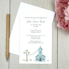 blue christening invitation