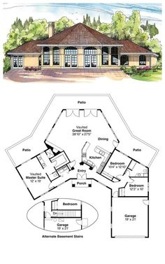 COOL House Plan ID: Total living area: 1975 sq ft, 3 bedrooms & 2 bathrooms. Best House Plans, Country House Plans, Dream House Plans, Small House Plans, House Floor Plans, My Dream Home, Round House Plans, The Plan, How To Plan