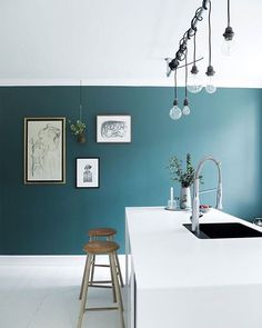 Love the colour used in this little kitchen from Osterbro, Copenhagen featured…