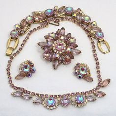 Vintage Juliana (D&E) Book Piece Lavender Pink AB Scooped Rhinestone Grand Parure