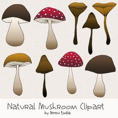 Natural Mushroom Clipart | Deliciously cute Natural mushroom clipart by @merviemilia
