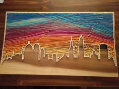 City Skyline String Art with Sunset - Upcycled Crafts String Art Diy, Diy Wall Art, String Crafts, Wall Decor, Diy Arts And Crafts, Creative Crafts, Fourth Of July Crafts For Kids, String Art Patterns, Doily Patterns
