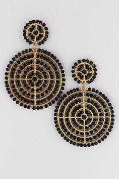 Space Bead Earrings- Black