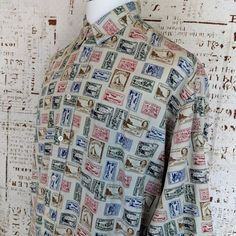 7fccd86fa2c24 Nautica Mens Button Front Shirt Size XL New Zealand Stamp Print long sleeve   Nautica