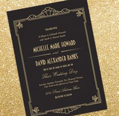 Art Deco 1920's Wedding Invitation by Origami Prints #gold #and #black #vintage #20s #1920s #great #gatsby #themed #decor