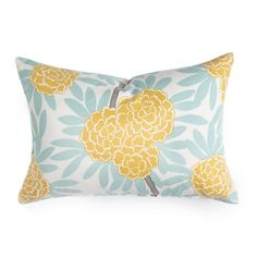 MUSTARD FLEUR CHINOISE PILLOW    Asian blooms cascade through bold leaves & wandering branches in my principal pattern, Fleur Chinoise. Cool aqua and bright mustard make for an easy, cheerful combo certain to liven up your space.