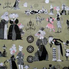 Alexander Henry GHASTLIE FAMILY REUNION Green Halloween Ghastlies Ghastly Fabric   eBay