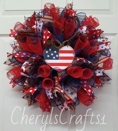 """I """"Heart"""" America Wreath,Patriotic Wreath,Red White Blue Wreath,Memorial Day… Holiday Wreaths, Holiday Crafts, Summer Crafts, Holiday Ideas, Holiday Decor, Patriotic Wreath, 4th Of July Wreath, Labor Day Holiday, Flip Flop Wreaths"""