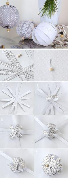 Papel de bricolaje de bolas Adornos    Haga clic para 28 DIY fácil decoraciones de Navidad para Home    DIY fácil Adornos Casera