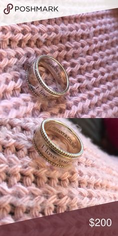 """Tiffany's I LOVE YOU ring Beautiful and authentic Tiffany's I love you ring rare find since they started making a newer """"I love you"""" looking ring this year Tiffany & Co. Jewelry Rings"""