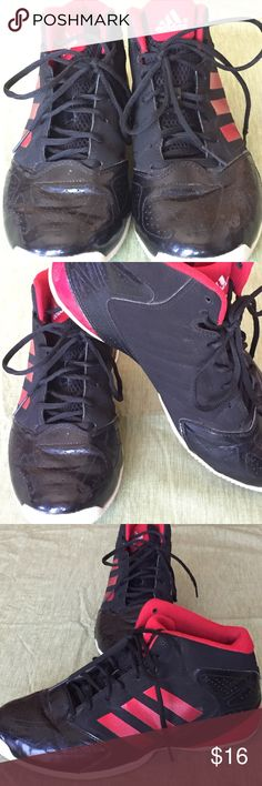Men's Adidas basketball shoes Men's Adidas basketball shoes. Black and red. Good condition. There's a smudge on the side of the right shoe, pictured in image 4. These were shared with me for one of my guys and they missed the sizing and never got to wear them. 😓 would love them to find a good home. Adidas Shoes Athletic Shoes